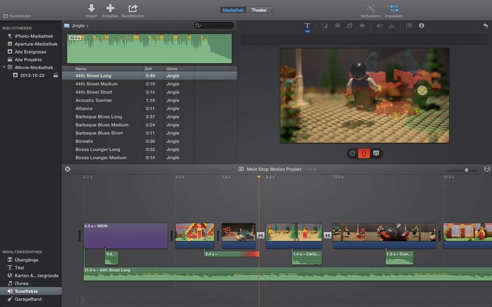 Stop Motion Apple iMovie Software