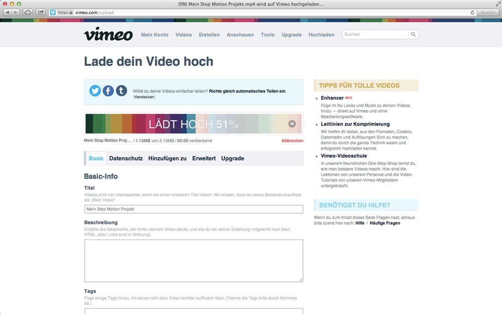 Stop Motion Film auf Vimeo teilen