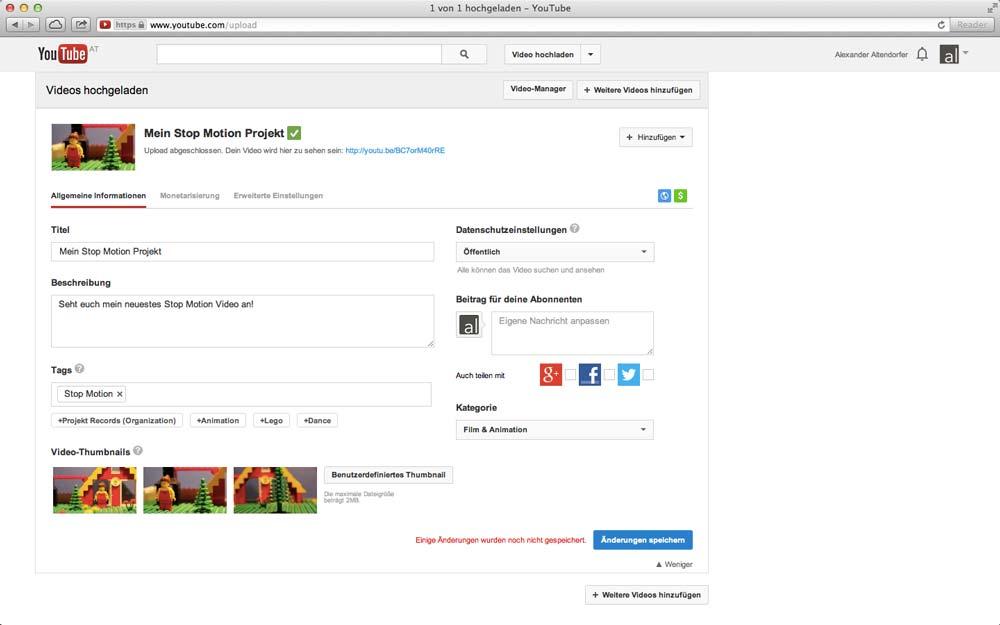 Stop Motion Film auf YouTube teilen